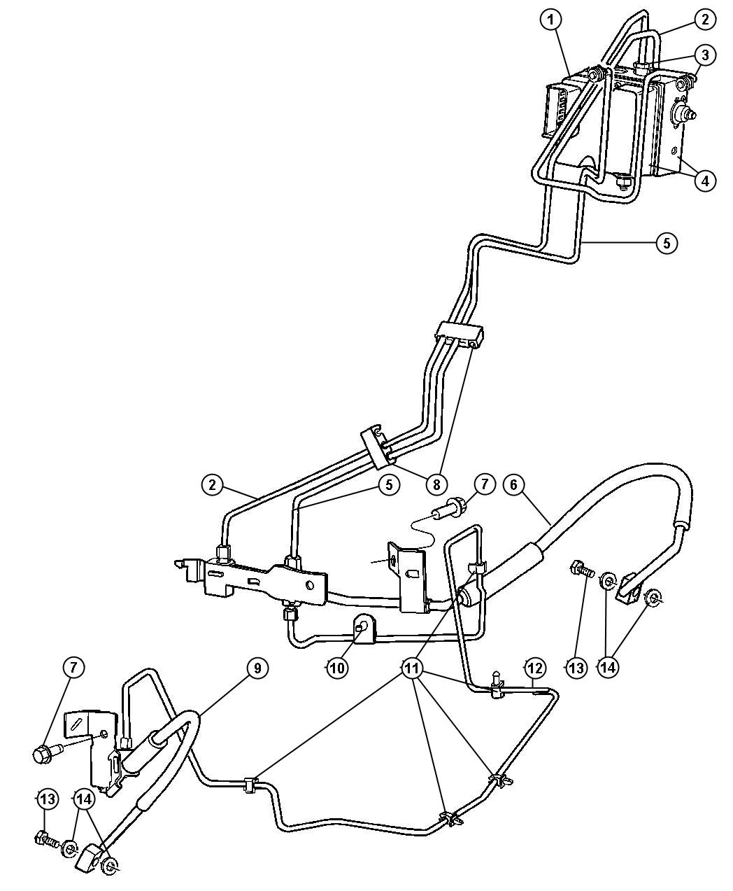 Dodge Ram Hcu Lines And Hoses Brake Front With R