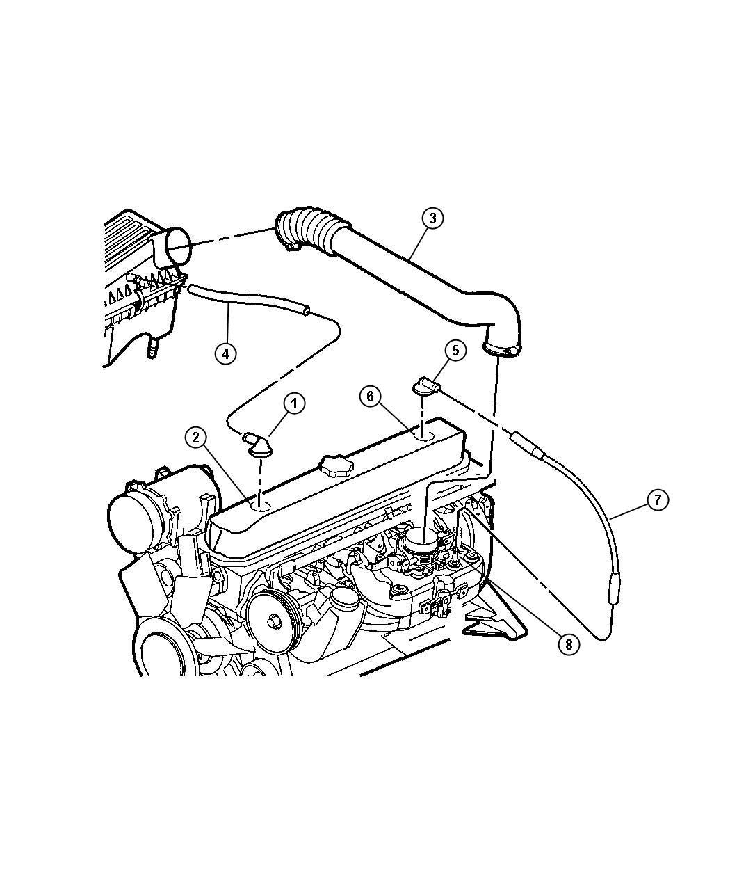 Jeep Cherokee Tube Crankcase Vent To Intake Manifold
