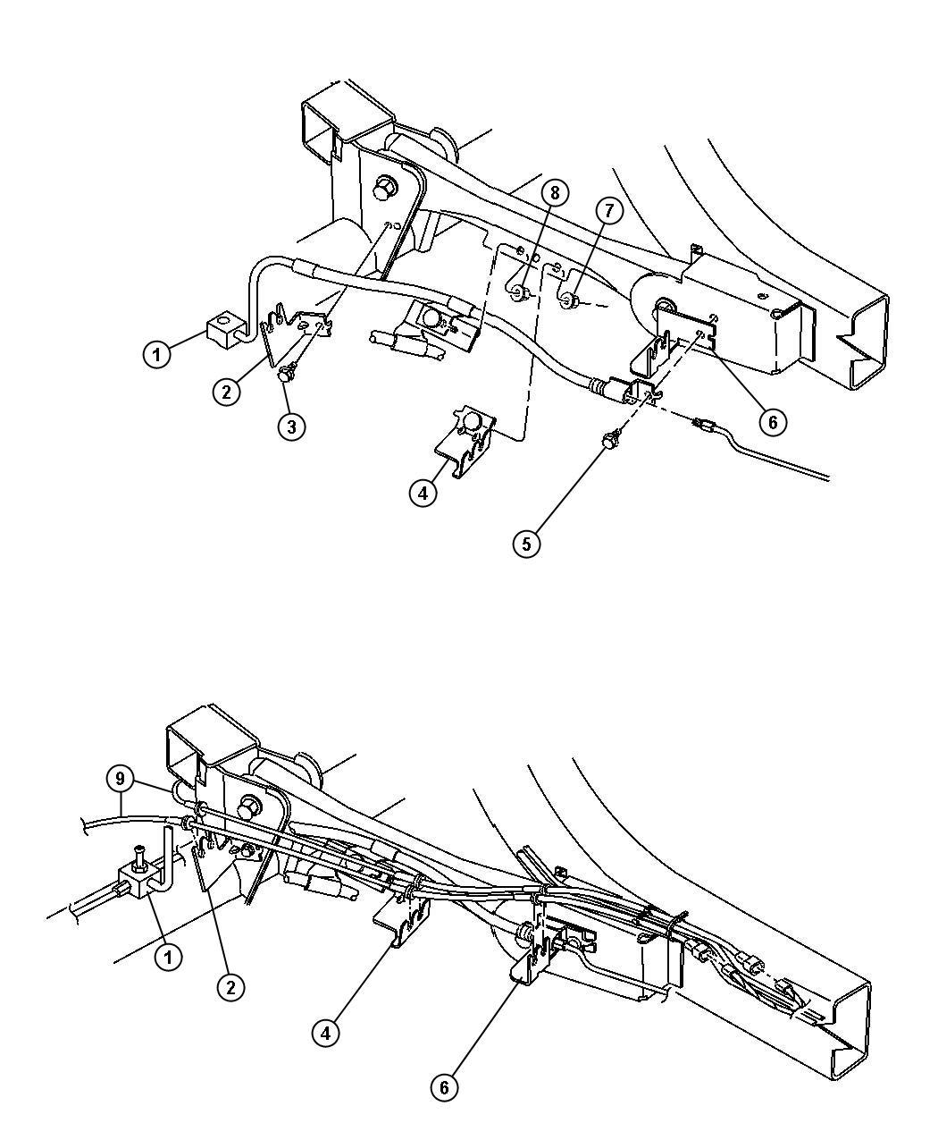 Jeep Wrangler Rear Axle Brake Sensor Wiring Brackets