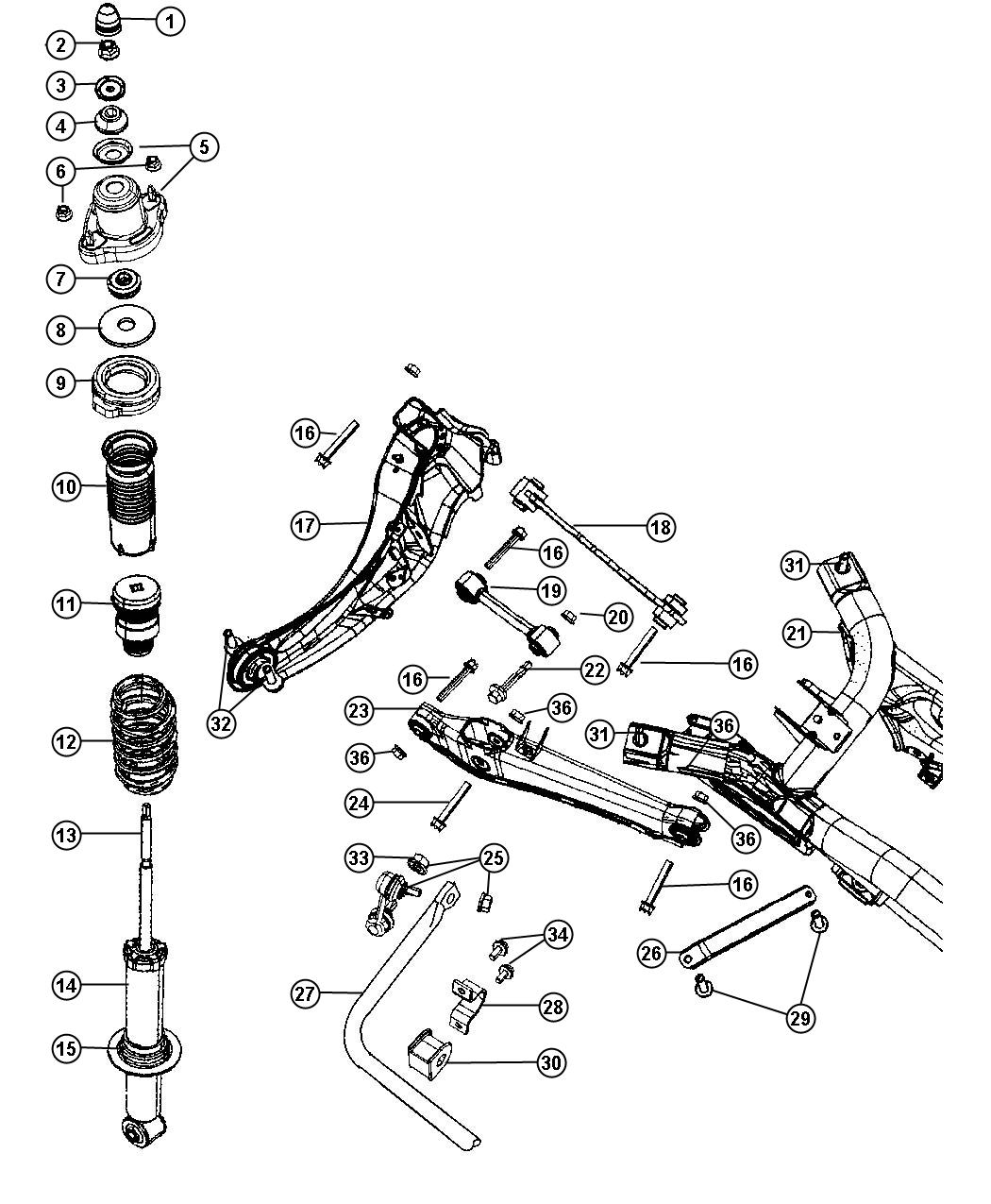 Dodge Caliber Crossmember Rear Suspension