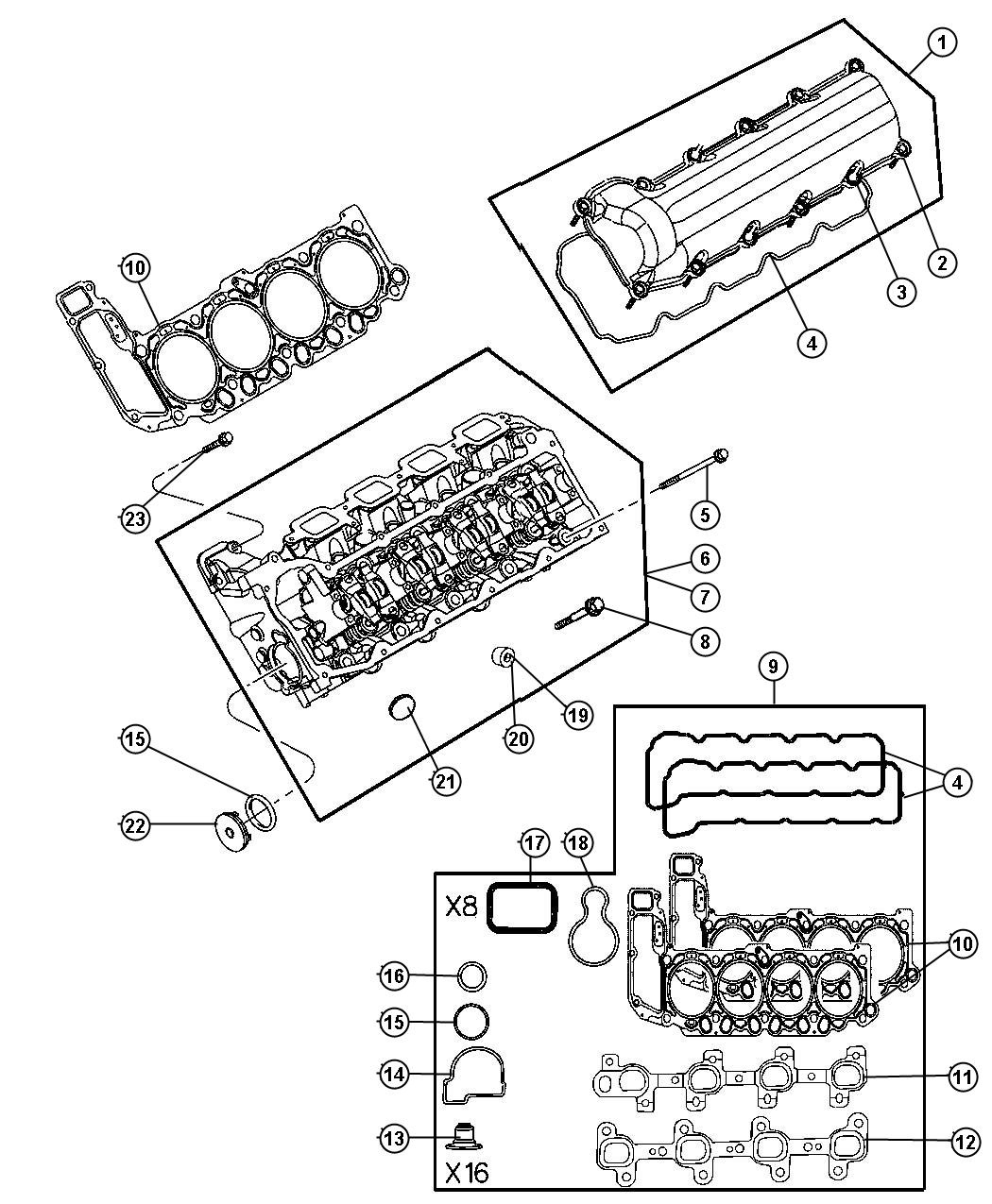 Dodge Gasket Valve Cover Left Right Includes