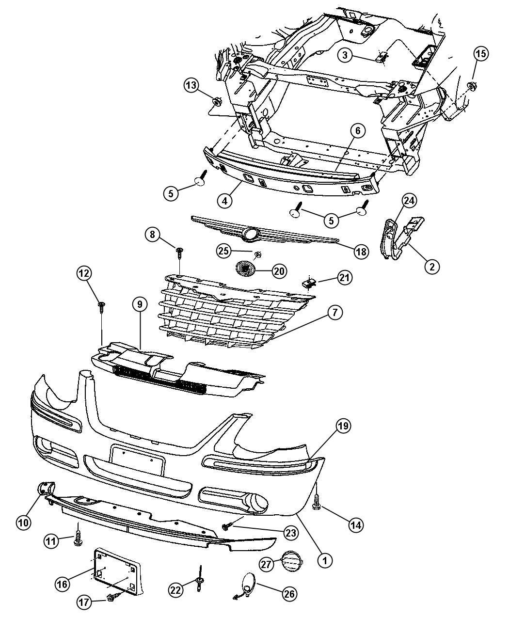 Dodge Grand Caravan Reinforcement Front Bumper