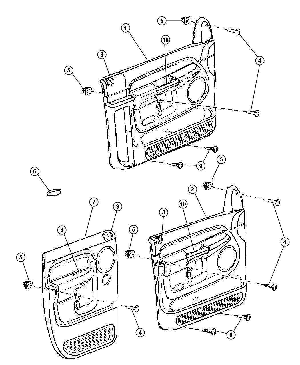 Dodge Bezel Lock Knob Trim Cloth Bucket Seats