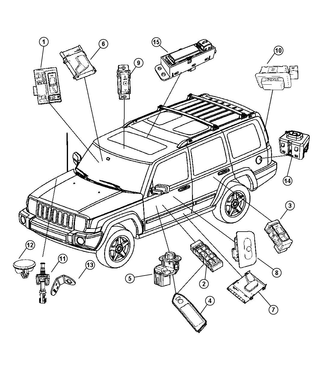 Jeep Commander Switch Liftgate Trim All Trim Codes