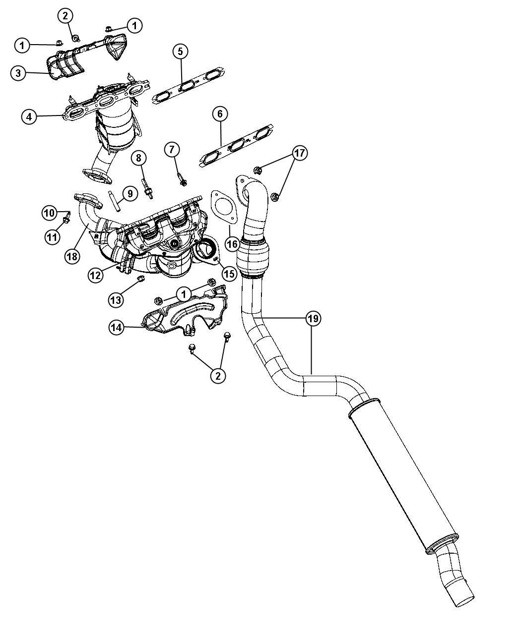 Chrysler Pacifica Converter Manifold Rear Right