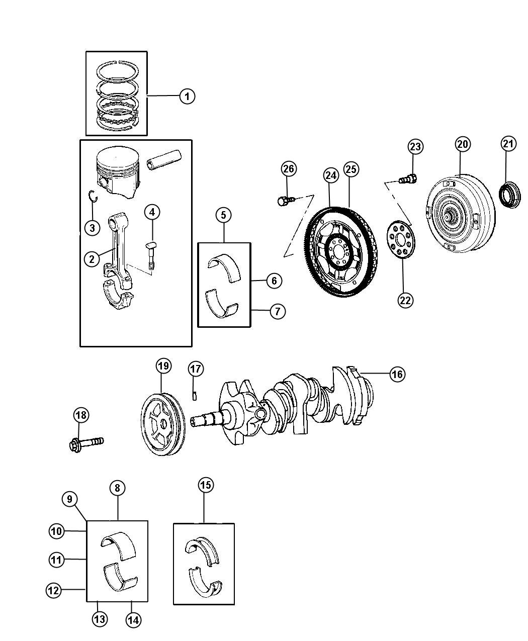 Crankshaft Pistons Torque Converter And Driveplate 2 7l