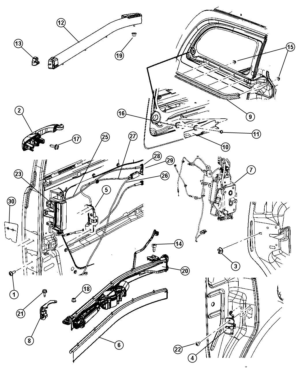 Chrysler Sliding Door Hardware Components
