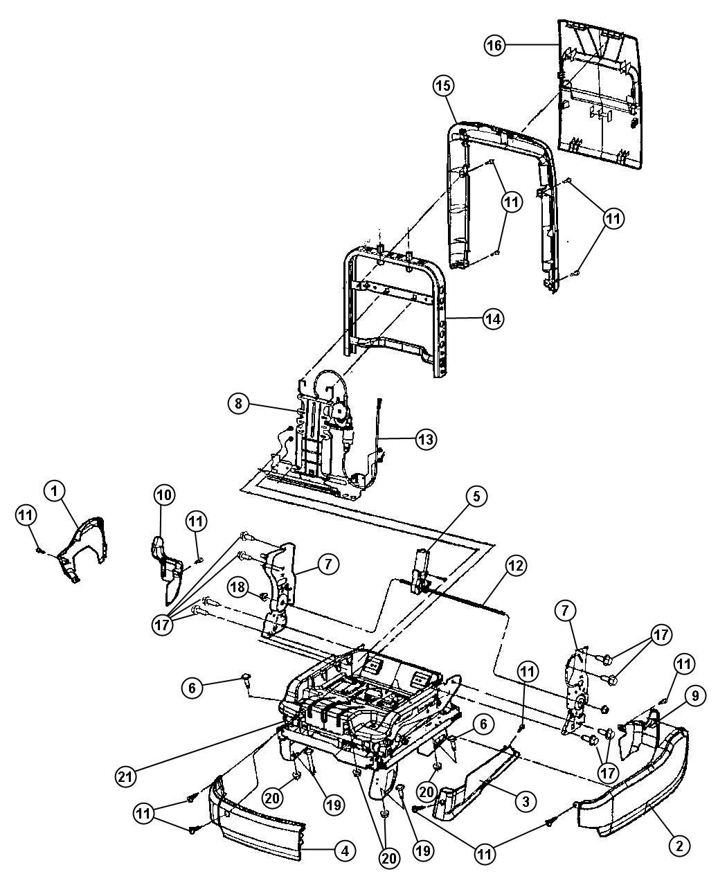 Jeep Grand Cherokee Motor Seat Recliner Power Seat Trim