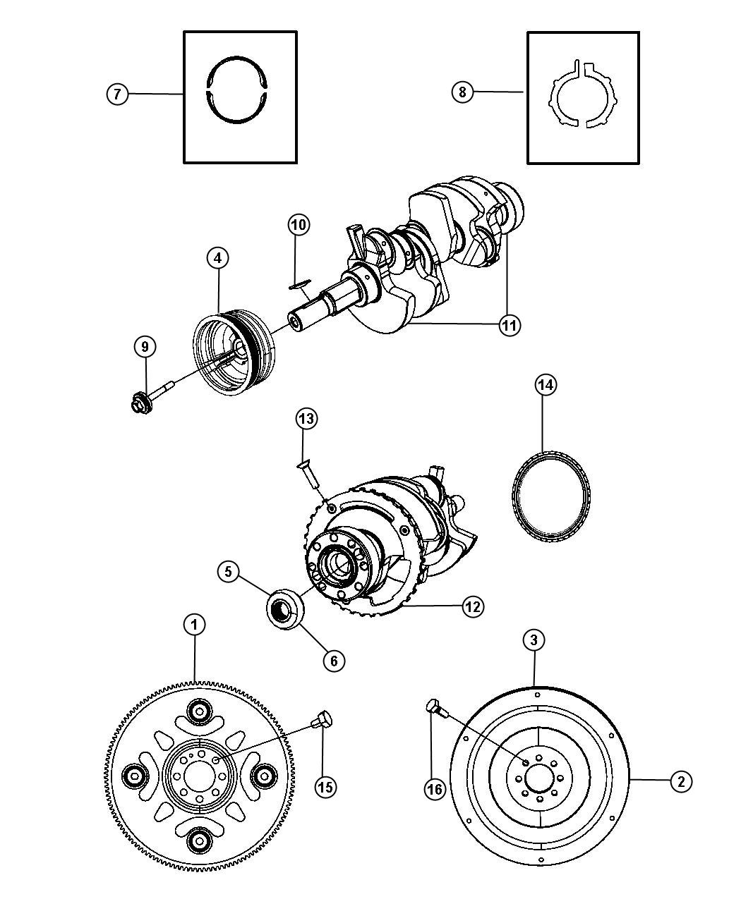 Jeep Liberty Sport Crankshaft Bearings Damper Flywheel And