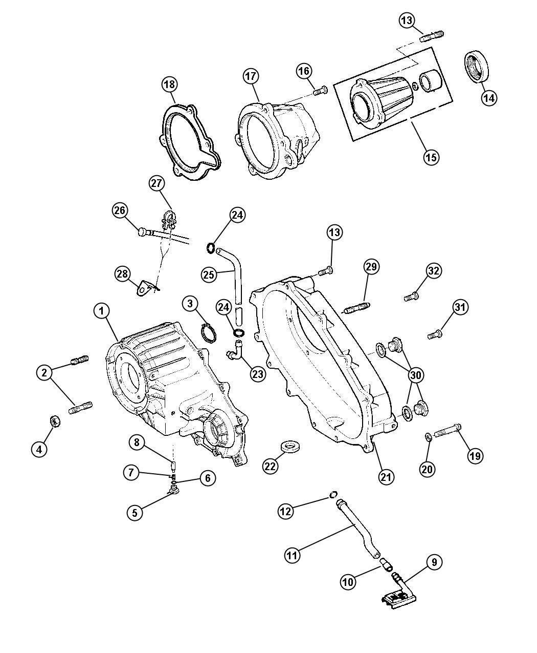 Dodge Dakota Retainer Transfer Case Rear
