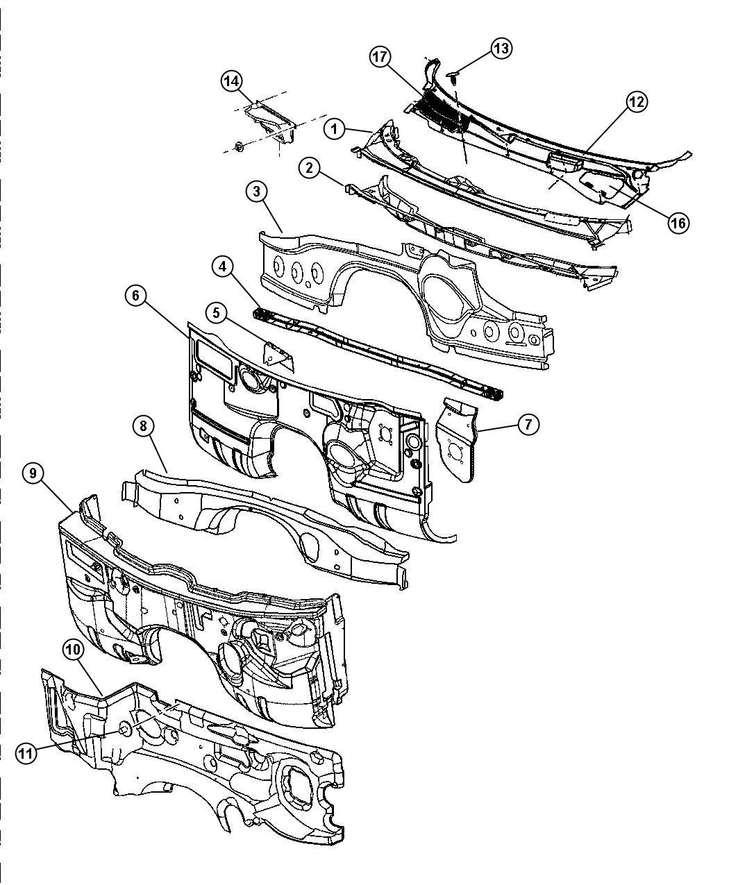 Dodge Magnum Crossmember Floor Pan Toeboard