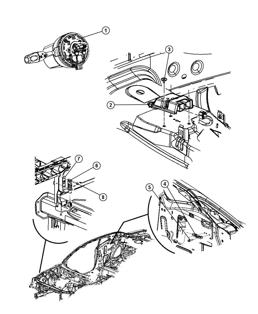 Dodge Nitro Clockspring Steering Column Control Module