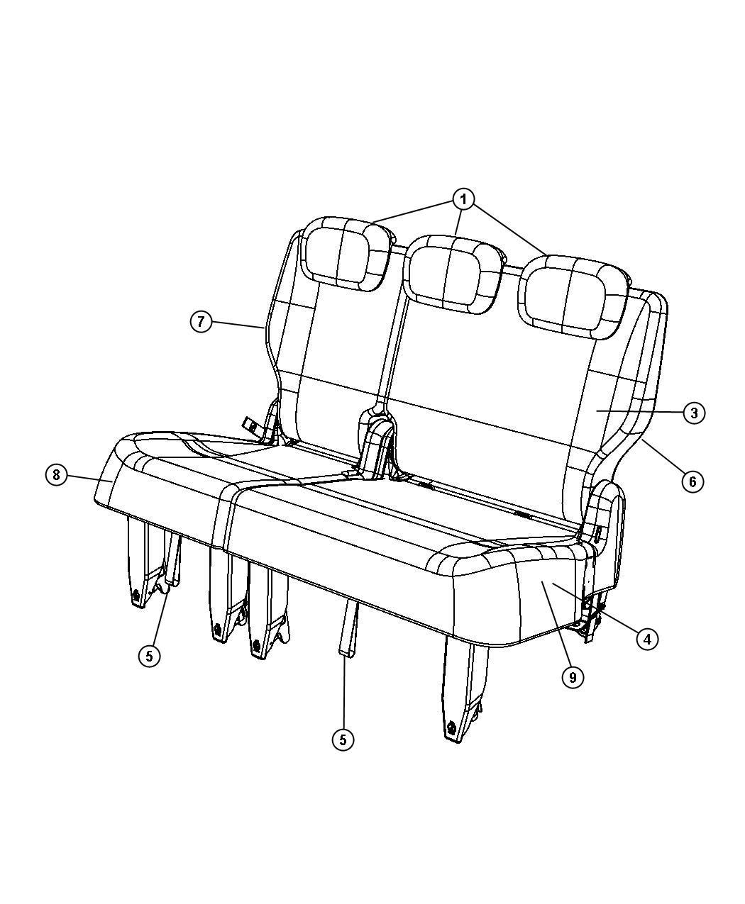 Dodge Grand Caravan Foam Seat Cushion Third Row