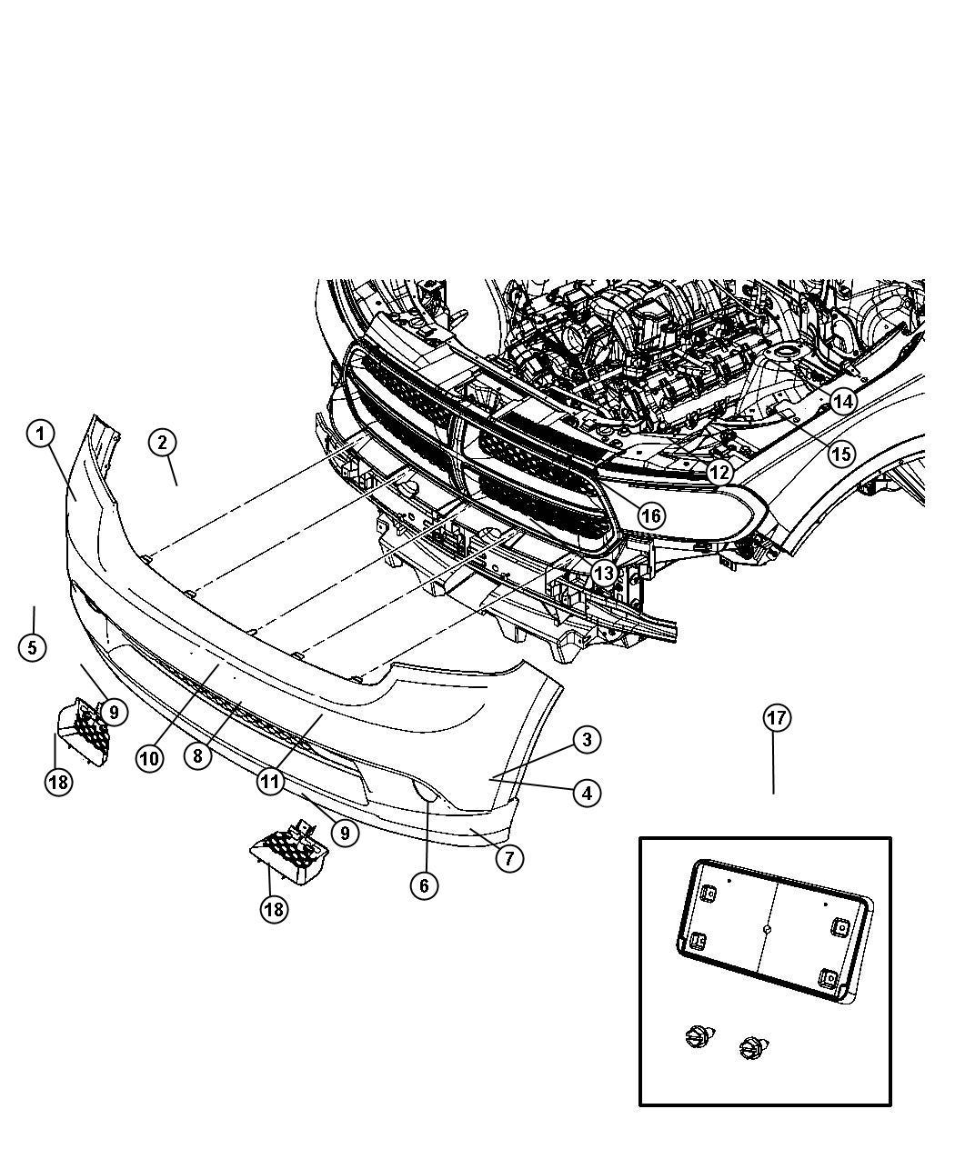 Dodge Durango Beam Front Bumper Controltow Modulenhno