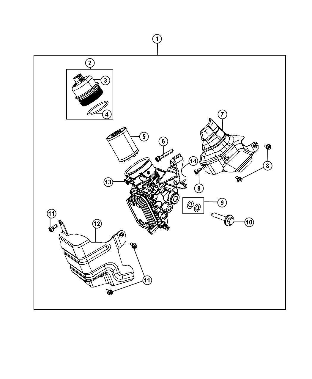 Dodge Dart Engine Oil Filter And Housing Cooler 1 4l Eaf
