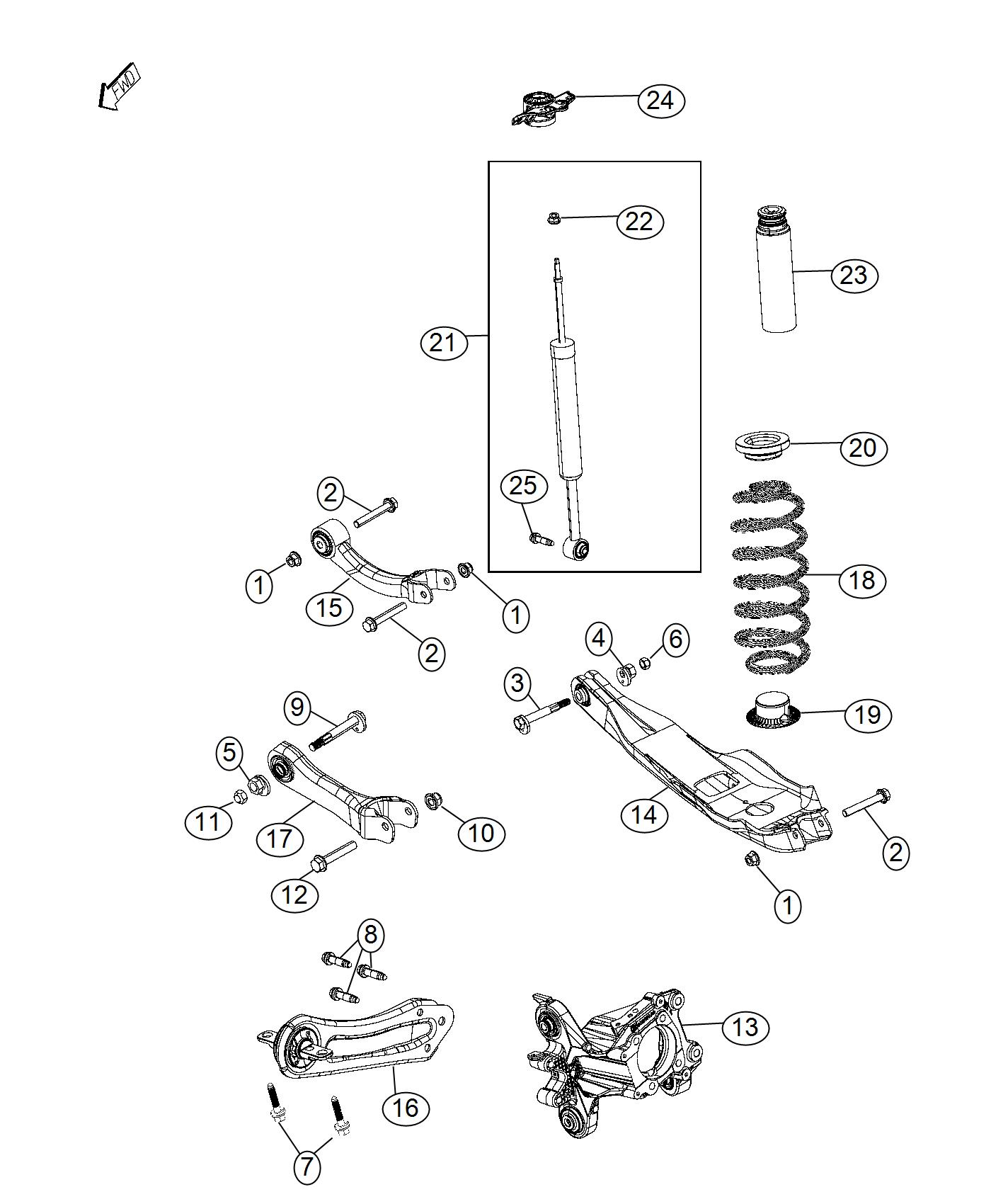 Jeep Cherokee Link Assembly Trailing Arm Right