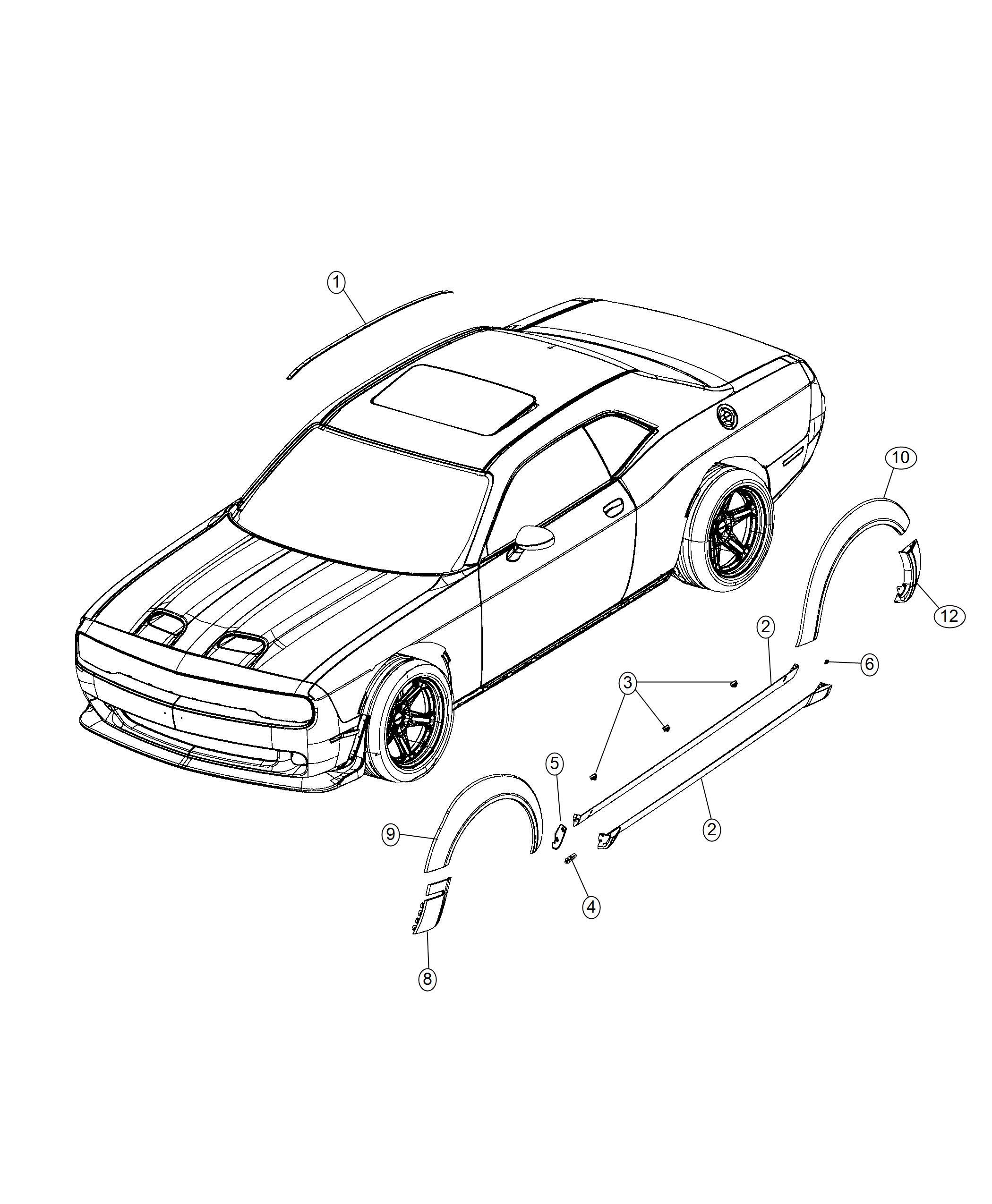 Dodge Challenger Molding Wheel Opening Flare Rear