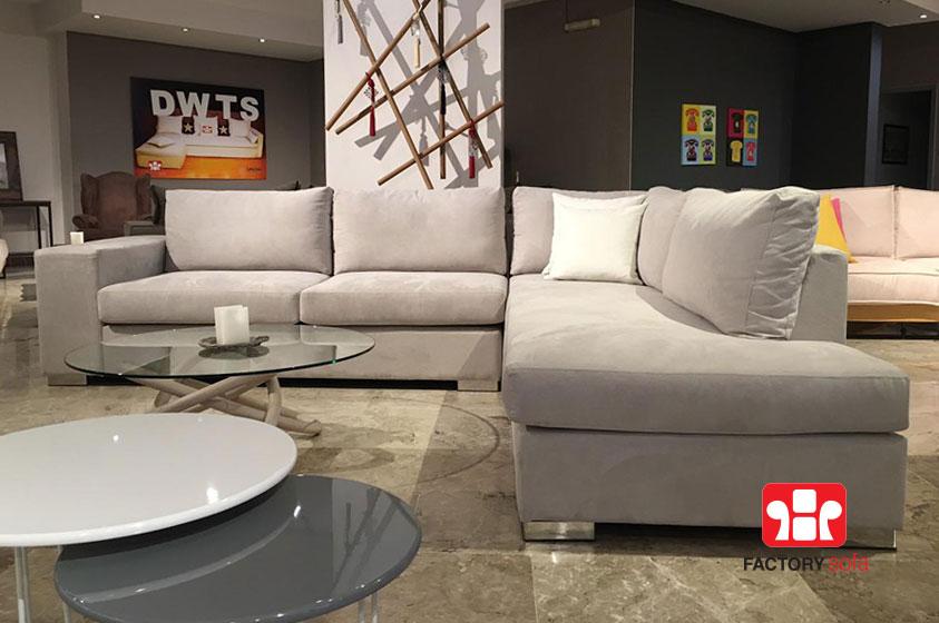 Γωνιακό Σαλόνι SIFNOS 3.00m x 2.50m. Διατίθεται με αδιάβροχο ύφασμα σε μεγάλη ποικιλία χρωμάτων. Ελληνικής κατασκευής με την εγγύηση της FactorySofa.
