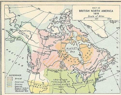 Imagini pentru canada -usa map 1818