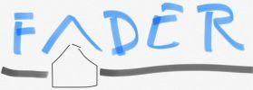 """Logo """"FADER.cz"""" v první prstem na mobil kreslené verzi"""