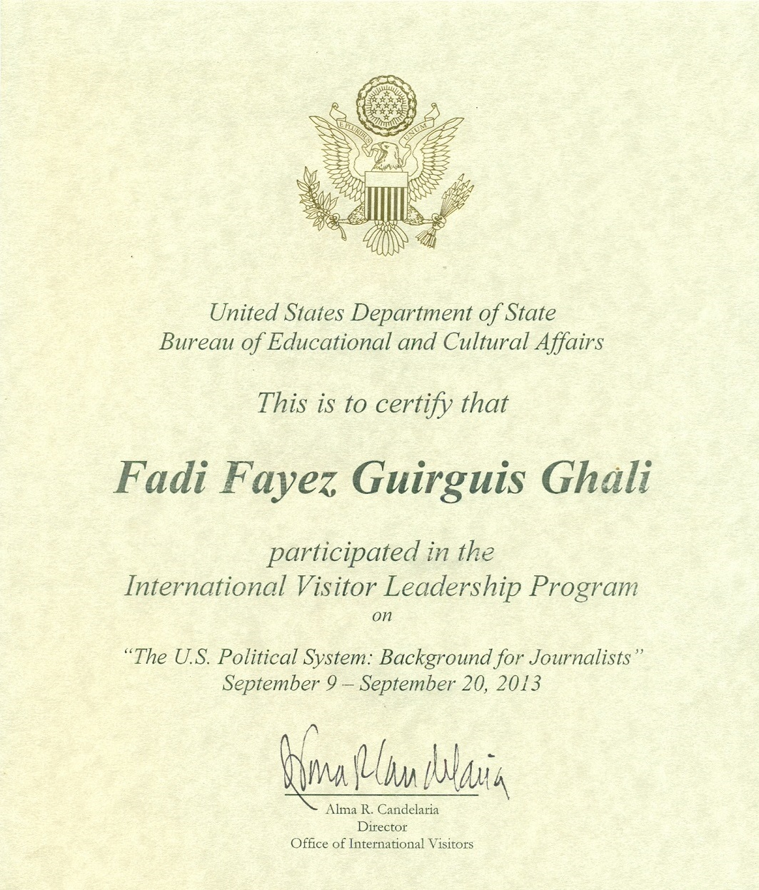 Media Host Career Honor of the US Department of State - Media Host and Certified Marketer