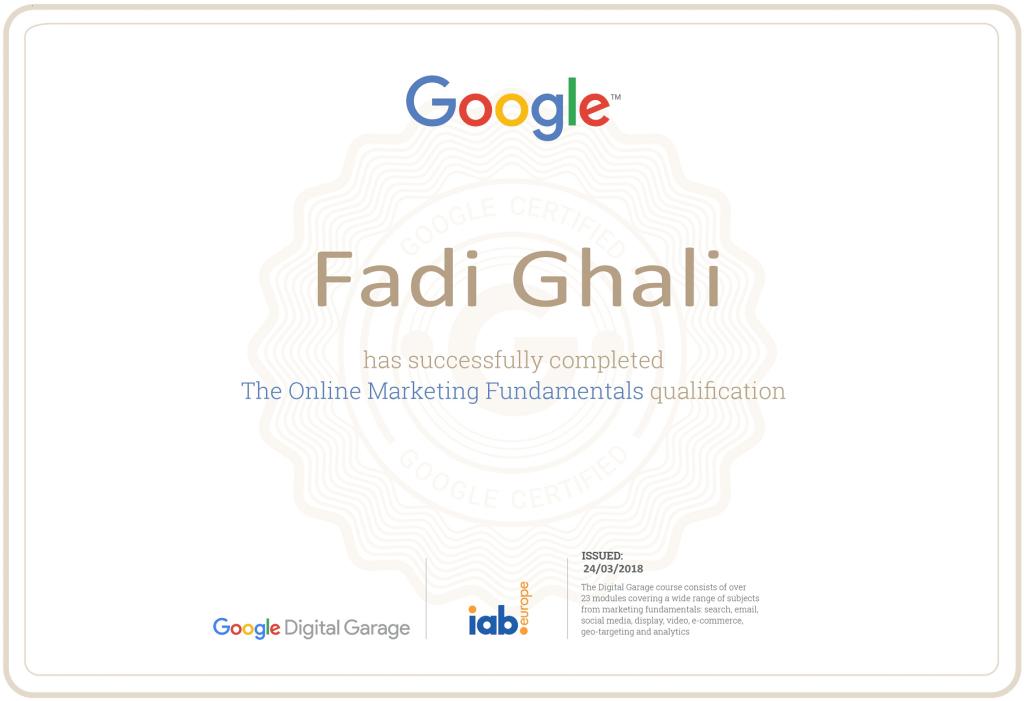 Online Marketing Certificate from Google Digital Garage and The Interactive Advertising Bureau of Europe (IAB Europe) - Original Copies of Certificates