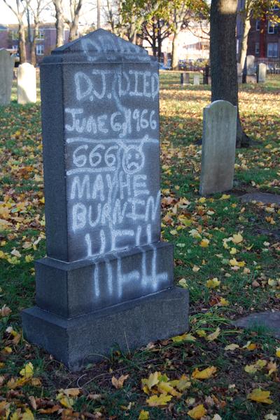 Graffiti Defacing Gravestones - © Frank H. Jump