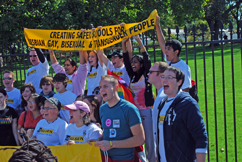 Members of GLSEN in front of White House - Creating Safer Schools for Lesbian, Gay, Bisexual & Transgendered People - © Frank H. Jump