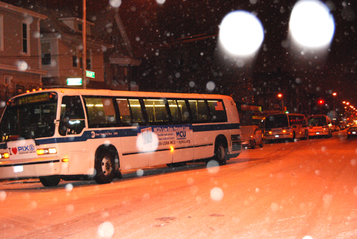 Buses on Farragut Road near Flatbush Junction pulled over. - © Frank H. Jump