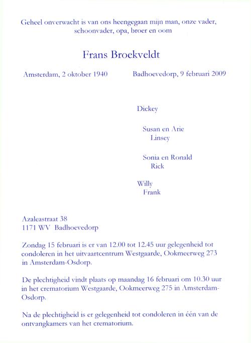 Frans Broekveldt - Death Notice