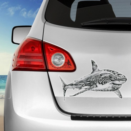 stickers autocollant requin blanc fond transparent voiture