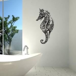 support mural metal hippocampe Noir