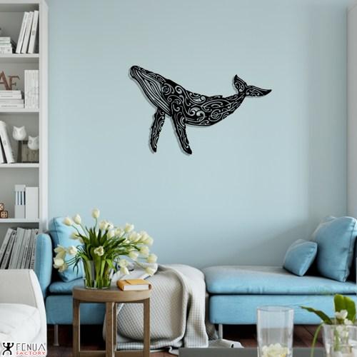 Décoration murale baleine noir