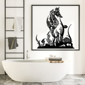 """Décoration murale acier """"Hippocampe & Coraux"""""""