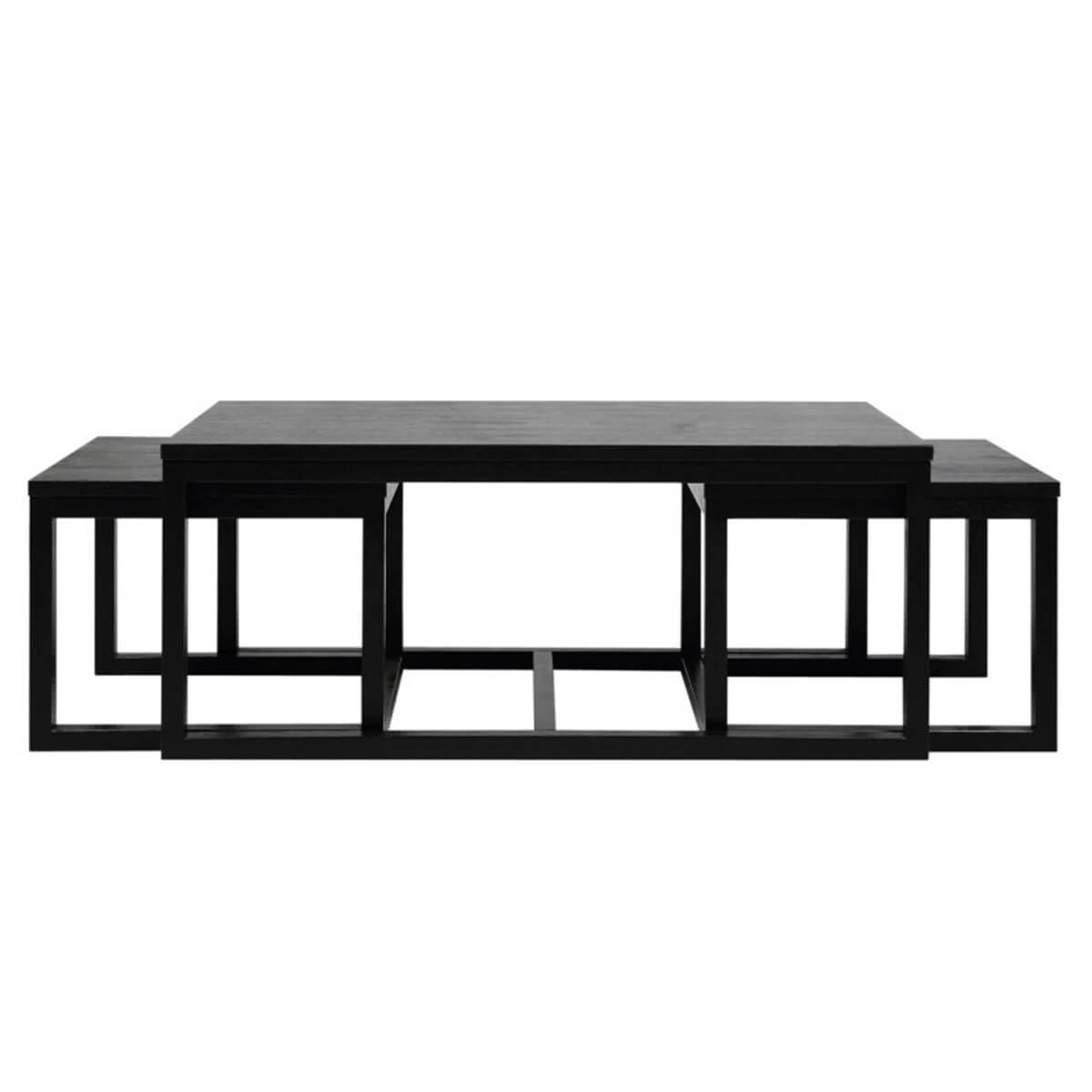 curb set of 3 black ash veneer coffee tables