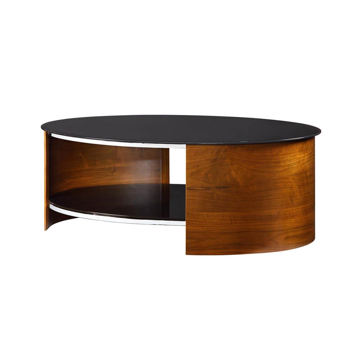 jual curve walnut black glass coffee table