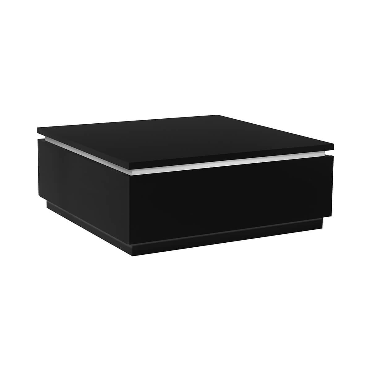 logan coffee table black high gloss with lights storage