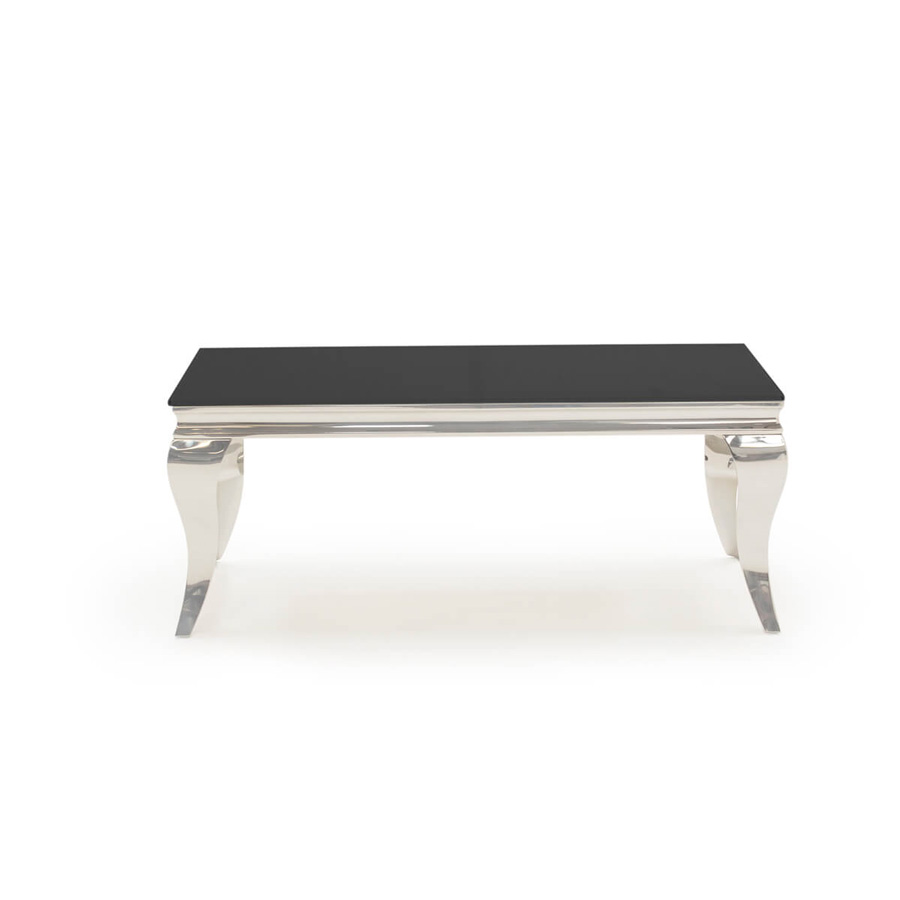 louis rectangular coffee table black glass stainless steel large