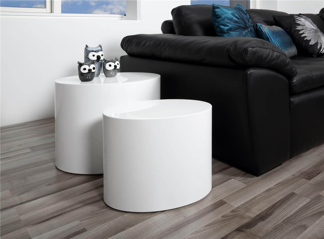 sophie oval set of 2 coffee tables white high gloss living room fads