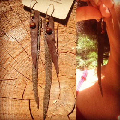 Recycled Leather Feather Earrings with Freshwater Pearls and Unakite | faerwear