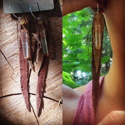 Recycled Leather Earrings with Tangerine Quartz Crystal Points | faerwear