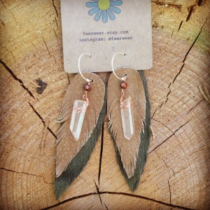 Golden Lemurian Crystal Point Recycled Leather Feather Earrings | faerwear