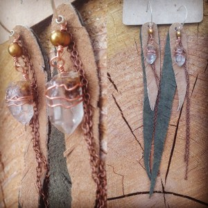 Angel Temple Quartz points wrapped in copper with pearls and leather feathers | faerwear