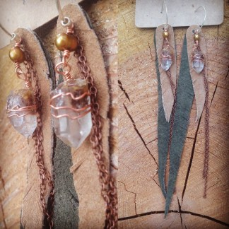 Angel Temple Quartz points wrapped in copper with pearls and leather feathers   faerwear
