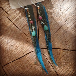 Olive and teal feather earrings with cloisonne, carnelian, and aventurine teardrops | faerwear