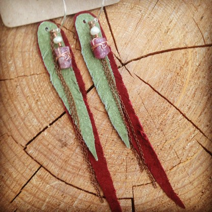 Wrapped raw rubies with white freshwater pearls, pale green and cranberry suede feathers and copper chain | faerwear