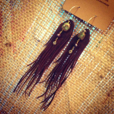 Long Brown Fringe Earrings with Green Jasper | faerwear