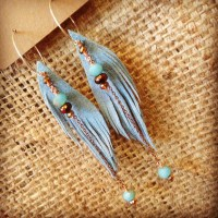 Blue Ultrasuede Vegan Feather Earrings with Austrian and Czech crystal | faerwear