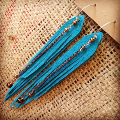 Vegan Teal Fringe Long Earrings with Austrian and Czech Crystal | faerwear
