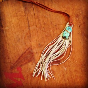 Boho Tassel Necklaces: recycled, handcut white deerskin leather tassel necklace with deerskin lacing and raw turquoise nugget.